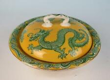 Antique Lancaster & Sons Staffordshire 3PC Butter Dish w/Dragons Pottery England