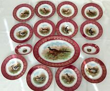 Antique Moritz Zdekauer MZ Austria Game Bird 15 pc Set Plates & Serving GORGEOUS