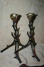 set 2 branch + rosebud candlestick holders  bronze laquer gothic HALLOWEEN