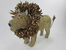 LION  wire sculpture glass seed BEADED BEAD safari African ART Male Mane