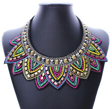 MGUS Pendant Chain Jewelry Women Bib Crystal Beaded Collar Necklace Choker