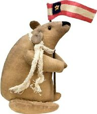 Primitive Mouse holding a Flag Pole  -  Patriotic - American - USA