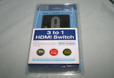 New 3 way 3 to 1 HDMI Selector Switch 1080P with Remote Control Factory Sealed