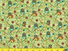 Small & Cute Teal Gold & Brown Owls on Light Green Quilting Fabric 1/2 Yard #525