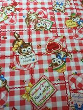 RPA119X Retro Kittens Kitschy Kitty Japan Love Notes Cotton Fabric Quilt Fabric