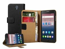 Wallet Black Leather Case Cover Pouch Saver For Alcatel One Touch Pop Star 5022D