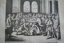 GRAVURE SUR CUIVRE ROBE NUPTIALE-BIBLE 1670 LEMAISTRE DE SACY (B221)