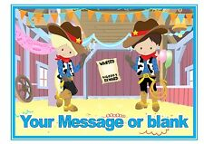 ND1 Cute Cowboy western party birthday personalised A4 cake topper icing sheet