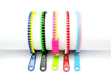 5Pcs Mixed Two-Color Plastic Zipper Bracelets (Pack #5)