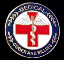 Medical Coder and Billing Lapel Pin Professional Medical Red Cross Caduceus 119