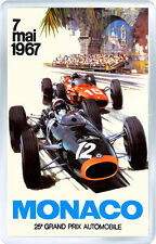 1967 MONACO GRAND PRIX MOTOR RACING FRIDGE MAGNET IMAN NEVERA