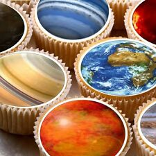 24 Edible cake toppers decorations Space Solar system planets earth moon