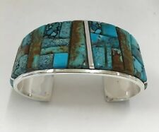 Native American Sterling Silver Navajo Corn Cut Turquoise Bracelet