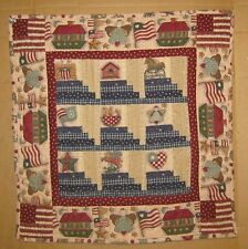 "AMERICANA FOLK ART  WALL QUILT-RED-WHITE- BLUE-17"" X 17"" OOAK"