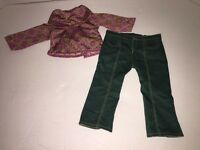 American Girl Doll Meet Outfit 4 Ivy Shirt Green Pants Julie BFF Cowl-Neck Top
