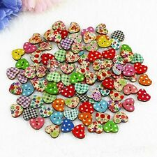 100Pcs 2 Holes Colorful Mixed Round Wooden Buttons Sewing DIY Craft Scrapbooking