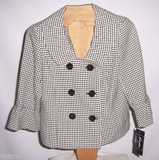 NWT Sweet Black & White Graphic Print Suit Jacket Misses Size 10P