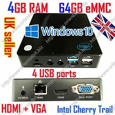 Mini PC 4G RAM, 64G eMMC HDMI VGA Windows 10 Pro Intel Cherry Trail WiFi TV BOX