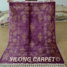 Yilong 4.3'x6.6' Handmade Persian Silk Rug Qom Exquisite Purple Carpet 1719