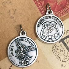 "Saint St Michael the Archangel 3/4"" Medal Pendant Police Badge Serve and Protect"