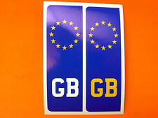 NUMBER PLATE GB Europlate Car Van Stickers Decals 2 off 104mm