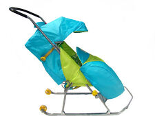 Baby Sled Stroller Turquoise Winter Outdoor sport equipment, traineau poussette