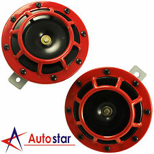Red 12V 335HZ/400HZ Super Loud Electric Compact Car Horn Blast Tone Grill Mount