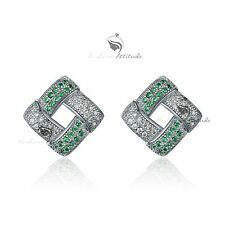 18k white gold gf made with SWAROVSKI crystal stud earrings elegant