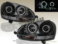 2006-2009 VW Rabbit GTI Jetta Dual CCFL Halo LED Projector Black Headlights