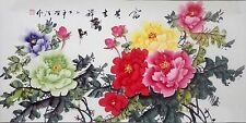 Hand Paint Scroll Painting  Feng Shui   Peony Signed   60
