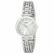 Timex T2P204, Women's Silvertone Bracelet Beaded Strap Watch,  T2P2049J