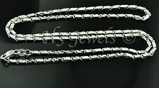 7.40 grams 18k solid white gold diamond cut box chain necklace  h3jewels #3204