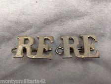 Original WW1/WW2 British Army Royal Engineers (RE) Brass Shoulder Titles