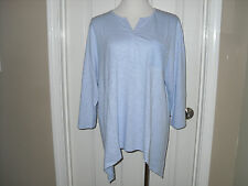 New Chico's Cam Crochet Inset Tee Top Blouse 3/4 Sleeve 2=12/14 Large NWT