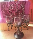 Hot Black Iron 5 Sconce Gothic Table Candle Opera Chandelier W/Crystal Accents