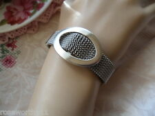 Retro vintage signed old Oxette Sterling Silver buckle mesh bracelet cuff bangle