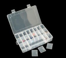1x 24 Case Compartment Storage Clear Charm & Spacer Beads Display Craft Box UK
