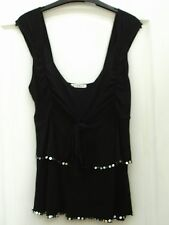 GEORGE BLACK STRETCHY EMBELLISHED SILVER SEQUIN TRIM TIERED STRAPPY VEST TOP 12