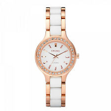 NEW DKNY NY8141 LADIES WHITE AND ROSE GOLD CERAMIC WATCH - 2 YEAR WARRANTY