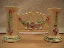 ROSEVILLE VINTAGE ART POTTERY- LA ROSE DOUBLE BUD VASE- EXCELLENT CONDITION