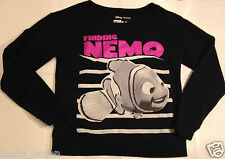 Women's Juniors XS Disney Pixar Finding Nemo Sweatshirt Pullover Crewneck Black