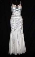 CACHE White Sheer Trumpet Silver Beaded Long Evening Dress Bridal Gown SEXY XS