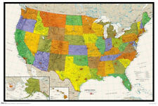 WALL MAP OF THE USA Detailed American Geography Poster for Home Classroom Office