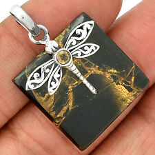 Dragonfly - Copper Black Turquoise 925 Sterling Silver Pendant Jewelry SP217851