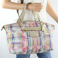NWT Coach Poppy Daisy Madras Large Satchel Crossbody Bag F23389 Plaid Multicolor