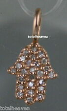 Solid 14K Pink Rose Gold Diamond CHAMSA Pendant Have Protection from Evil Eye!