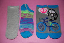 3 Pair LOT GIRLS Side by Side DESIGN SOCKS Fits Shoe 4-10 BICYCLE MONKEY PEACE