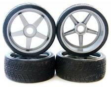 SILVER INFERNO GT TIRES & WHEELS 17mm rims black - Kyosho Inferno GT2 VE BL