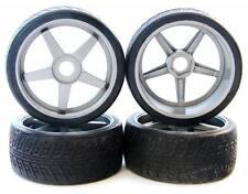 SILVER INFERNO GT TIRES & WHEELS 17mm rims black - Kyosho Inferno GT2 VE BL