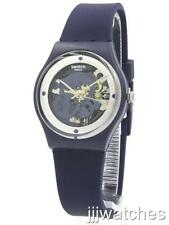New Swatch Originals Squelette Blue Silicone Skeleton Dial Watch 34mm GN245 $65